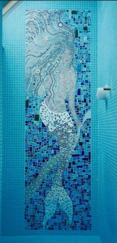 46 Cute and Adorable Mermaid Bathroom Decor Ideas Decoration # Mosaic Art, Mosaic Glass, Stained Glass, Mosaics, Blue Mosaic, Blue Tiles, Tile Art, Mermaid Bathroom Decor, Diy Bathroom