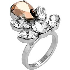 Mews London - Rose Crystal Crest Ring (605 RON) ❤ liked on Polyvore featuring jewelry, rings, crystal jewellery, swarovski crystal jewelry, clear crystal jewelry, swarovski crystal jewellery and crystal stone jewelry