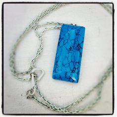 Turquoise pendant on white chain by bareroots on Etsy, $18.00
