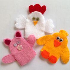 Pig, chicken, duck felt finger puppets