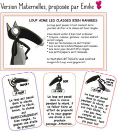 Le loup s'invite chez - Modern Behaviour Management, Classroom Management, Montessori, Petite Section, French Classroom, French Resources, French Language, Teaching Tools, Classroom Decor