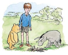 Christopher Robin and Pooh were paying an Encouraging Visit to Eeyore, who was gloomier than ever.