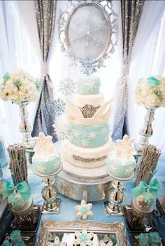 Incredible cake and desserts at a Frozen birthday party! See more party planning ideas at CatchMyParty.com!