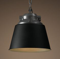 European Factory Cone Pendant Black Restoration hardware Love this for over the island.  Very cool industrial look