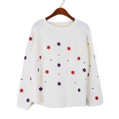 #Jollychic Fresh Printing Style Round Collar Long Sleeve Sweater