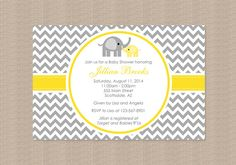 Chevron Yellow and Gray Elephant Baby Shower Invitation