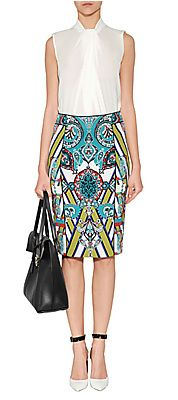 Mixed Print Pencil Skirt by ETRO | Luxury fashion online | STYLEBOP.com