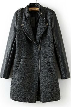Grey Contrast Leather Quilted Sleeve Zipper Coat - Sheinside.com