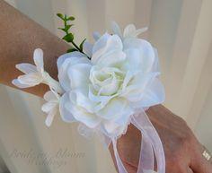 White gardenia wrist corsage champagne by BrideinBloomWeddings