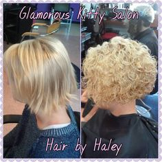 spiral perm with a stacked bob cut                                                                                                                                                                                 More