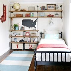 LOVE these DIY industrial shelves + boy room makeover @Traci Puk Puk Puk Puk @ Beneath My Heart