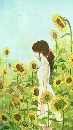 Ideas For Painting Watercolor Sunflower Art And Illustration, Sunflower Illustration, Watercolor Sunflower, Sunflower Art, Watercolor Flowers, Painting Flowers, Hair Painting, Art Anime, Anime Art Girl