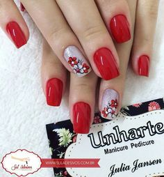 Manicure E Pedicure, Mani Pedi, Bling Nails, Red Nails, Cute Nail Art, Cute Nails, Girly Things, Acrylic Nails, Nail Designs