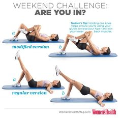 WH WEEKEND CHALLENGE: Hip Raises! This exercise works your glutes, hamstrings and core. Do 3 sets of 8 reps on EACH leg before every meal this weekend. #whweekendchallenge