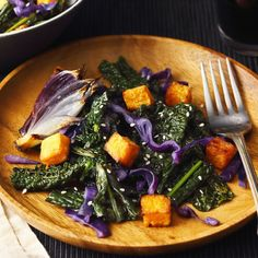 Deeply dark greens with red cabbage crunch, red onion, sweet potato croutons and a lemony tahini dressing.