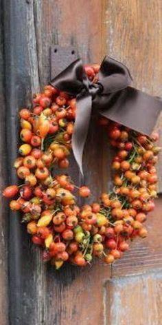 Autumn Cabin Wreath - Love the brown satin ribbon!
