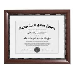 11x14 Mahogany Document Frame - Made to Display Certificates 8.5x11 inch with Mat and 11x14 inch without Mat, Classic Style, Color: Mahogany Brown - Document Frames, Certificate Frames, Diploma Frames