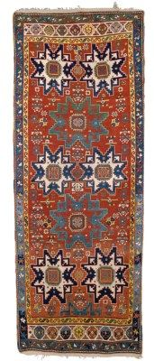 KAZAK LONG RUG SOUTH CAUCASUS, CIRCA 1880 Overall excellent condition 10ft.4in. x 4ft.1in. (315cm. x 125cm.)