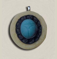 Handmade Glow in the Dark Scarab Brooch in Ivory by EyeGloArts, $45.00