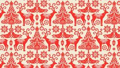 Scandi Christmas Fabric by Henley Studio for Andover Makower, Reindeer in Red