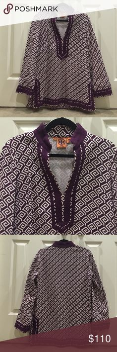 "Stunning Tory Burch Tunic❤️ Stunning purple and while Greek key Tory Burch tunic. Preloved in excellent condition. Beautiful purple ribbon lines the neck, hem, and sleeves for added accents. It's a must have Tory!  this is a nice heavy cotton fabric with a little stretch. PtP 19"". Total length top to hem is 30"". Tory Burch Tops Tunics"