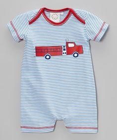 Blue & Red Stripe Fire Truck Romper - Infant by Cloud Mine #zulilyfinds