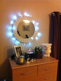 Christmas lights around vanity Christmas Pinterest