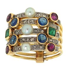 Victorian Harem Ring | From a unique collection of vintage band rings at http://www.1stdibs.com/jewelry/rings/band-rings/