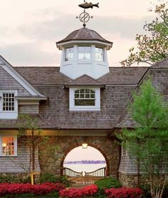 Inspiration for porte cochere; The dormers, tower, cupola & gate at arched entry are nice touches as well. Porte Cochere, Coastal Cottage, Coastal Homes, Cosy Living, Barn Living, Small Cottage Designs, Detail Architecture, Beautiful Architecture, My Dream Home