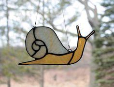 Caracol Suncatcher vidrieras, arte en vidrio