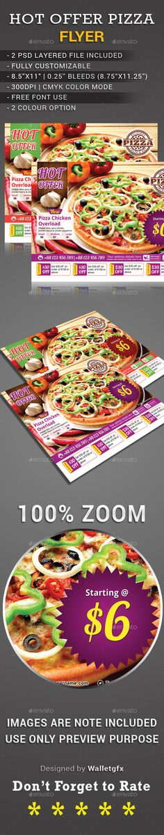 "Buy Hot Offer Pizza Flyer by walletgfx on GraphicRiver. ""Hot Offer Pizza Flyer"" is ready to print, easy to edit your requirement Pizza Flyer, Pizza Menu, Restaurant Menu Template, Restaurant Flyer, Template Flyer, Online Flyers, Print Templates, Portfolio Design, Flyer Design"