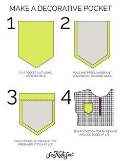DECORATIVE POCKET PATTERN + TUTORIAL //  #sorority #clothing #refashion #frocket #tutorial #diy http://seekatesew.com/decorative-pocket-tutorial/ pretti pocket, pocket tshirt how to, pocket tshirt pattern, decor pocket, how to add a pocket to a shirt, tshirt pocket pattern