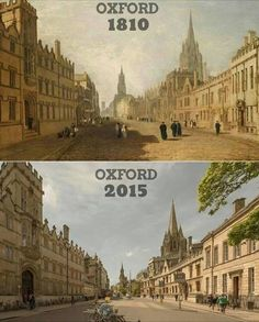 """Oxford in 1810 vs Established in 1096 years ago), Oxford is the oldest University in the English speaking world and is the…"""" Skyline Von London, Then And Now Pictures, Places To Travel, Places To Visit, Historical Images, Britain, Fun Facts, Beautiful Places, Funny Pictures"""