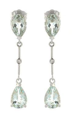 14K White Gold 6.0ct Aquamarine Earrings