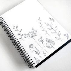 Darianrty on Instagram Leaf Drawing, Plant Drawing, Wildflower Drawing, Mermaid Drawings, Flower Sketches, Doodle Lettering, Simple Doodles, Doodle Designs, Flower Doodles