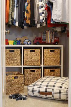 6-Cube Storage Organizer via #bhglivebetter influencer @twotwentyone. #organization #storage #cubeorganizer #kidscloset #closetstorage #closetideas #toystorage #boyscloset Cube Shelves, Cube Storage, Storage Bins, Diy Storage, Creative Kids Rooms, Boys Closet, Cube Organizer, Playroom Organization, Affordable Furniture