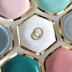I recently added a splash of color to my hexagon ring dishes! 🍭✨ I'm now making them in pastels like blush pink and ocean blue, and deeper tones like teal and slate gray. What's your favorite? 💕#ringdish #modernmud #hibmakers