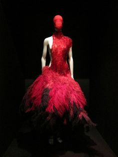 Dress of red medical slides and black and red ostrich feathers McQueen, S/S 2001