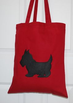 Handmade Shop, Etsy Handmade, Handmade Gifts, Red Tote Bag, Scottish Gifts, Scottish Tartans, Reusable Bags, Scottie, Natural Leather