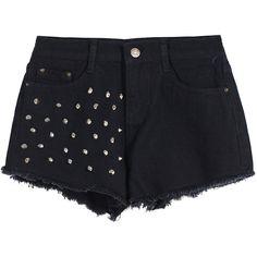 Rivet Fringe Denim Shorts ($9.99) ❤ liked on Polyvore featuring shorts, bottoms, pants, short, black, loose fit shorts, zipper shorts, black jean shorts, fringe denim shorts and black denim shorts