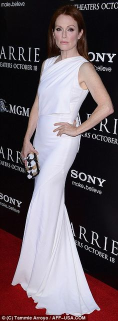 Julianne Moore in a white Givenchy gown and box clutch @ 'Carrie' premiere