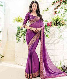 Buy Purple Chiffon Party Wear Saree 76504 with blouse online at lowest price from vast collection of sarees at Indianclothstore.com.