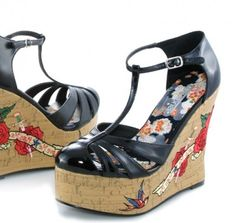 Rockabilly Wedge Shoe with Tattoo Embroidery