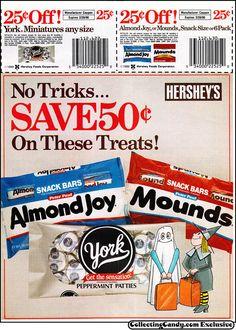 Hershey's - Almond Joy Mounds York - Halloween candy newspaper circular coupon - 1989