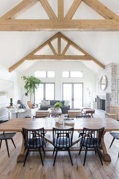 Farmhouse Style Kitchen, Modern Farmhouse Kitchens, Modern Farmhouse Decor, Farmhouse Table, Rustic Farmhouse, Design Living Room, Dining Room Design, Living Room Decor, Studio Living