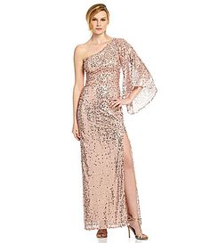 3a8f811bdd7 Night Way Sequin SingleSleeve Gown  Dillards What To Wear To A Wedding