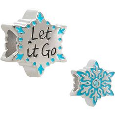Connections from Hallmark Disney's Frozen Blue Crystal Stainless Steel Enamel Snowflake Charm