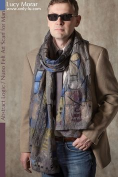 «Abstract Logic» Nuno Felt Art Scarf for Man by Lucy Morar  www.only-lu.com