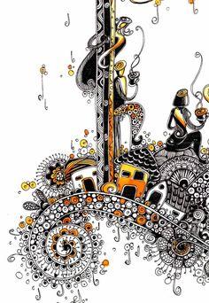 Zentangle colour doodle