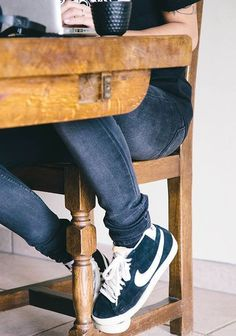 black jeans, sneakers